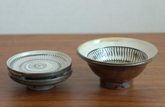 小鹿田焼 切立豆皿・内白4寸小鉢