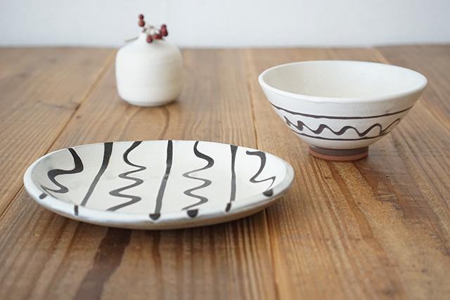 丹波焼 丹窓窯 飯碗・楕円皿